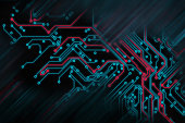 Circuit board futuristic code processing. Red, blue technology on black background