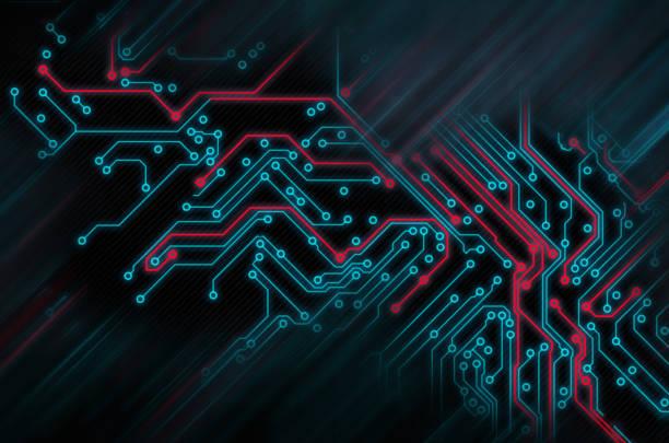 circuit board futuristic code processing. red, blue technology on black background - scheda a circuito foto e immagini stock