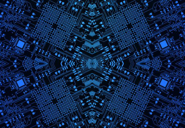 Concept de la future technologie circuit imprimé symétrie futuriste fond abstrait bleu - Photo