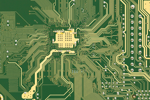 Green and Gold circuit board - mother board