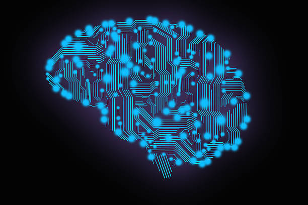 circuit board in form of brain stock photo