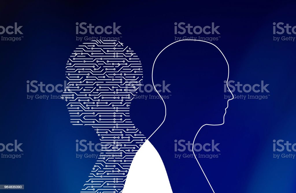 Circuit board in man shape on blue. High-tech technology background. 3d illustration royalty-free stock photo