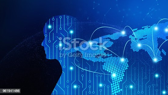 istock Circuit board in man shape with world map. High-tech technology background. 3d illustration 961941486