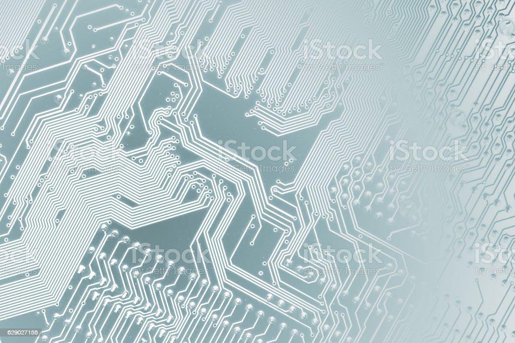 Circuit board. Motherboard digital chip. Light blue colors. – Foto