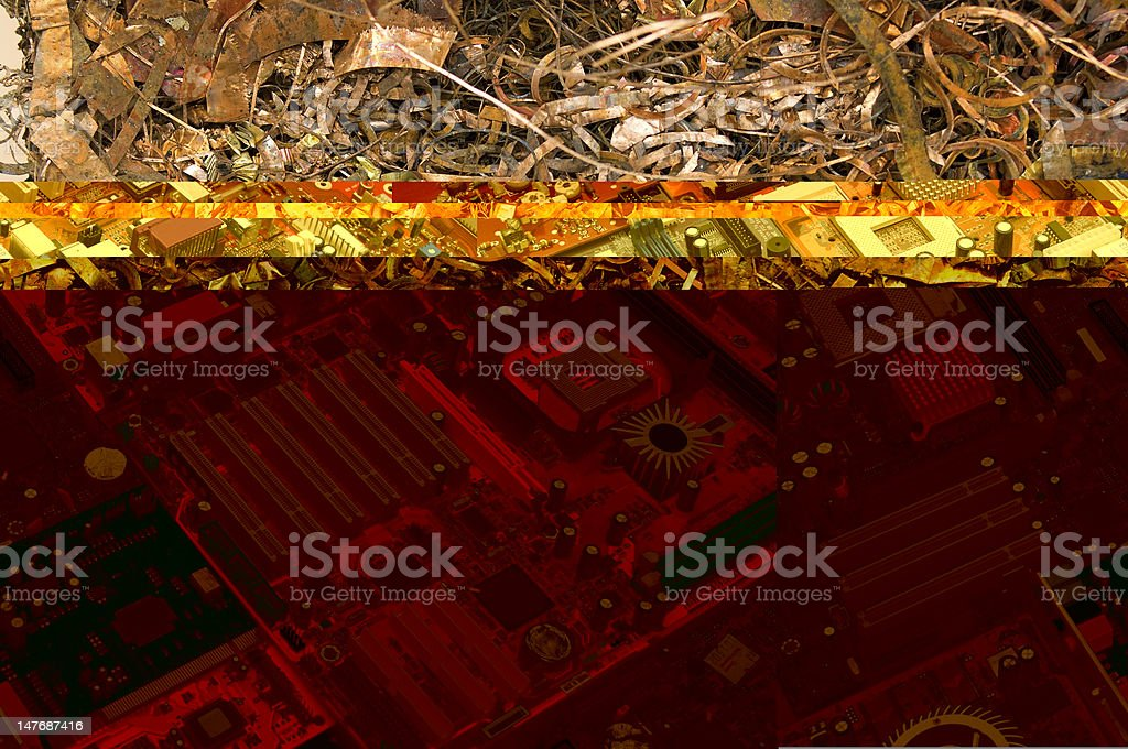 Circuit board oblique stock photo