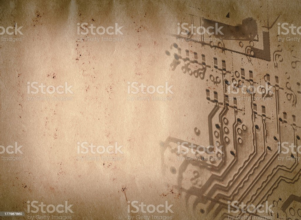 circuit board of laptop grunge paper texture royalty-free stock photo