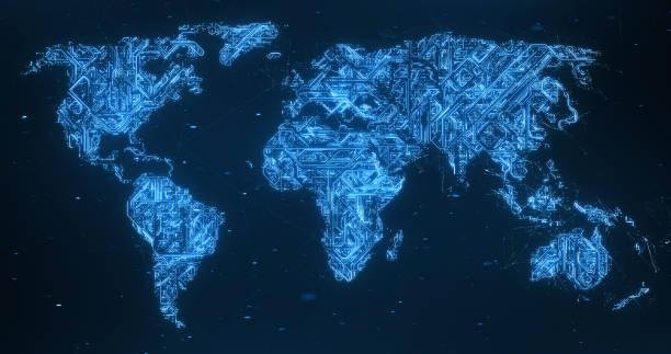 Circuit Board Pattern World Map - Blue stock photo