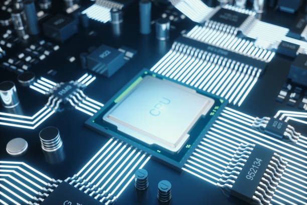 Circuit board. Technology background. Central Computer Processors CPU concept. Motherboard digital chip. Tech science background. Integrated communication processor. 3D illustration stock photo
