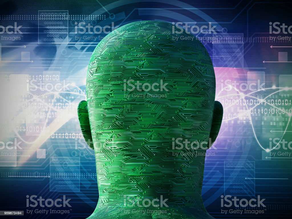 Circuit board textured head on abstract background - foto stock