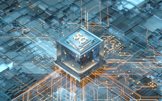Circuit board with 5g big data concept, 3d rendering. Computer digital drawing.