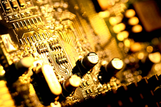 circuit board with chips - capacitor stock photos and pictures