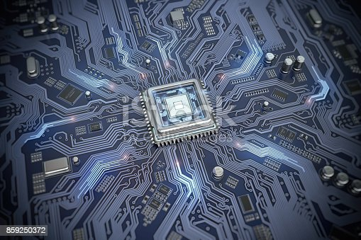 istock Circuit board with CPU.  Motherboard system chip with glowing processor. Computer´s technology and internet concept. 859250372