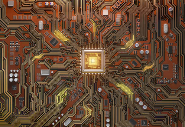 Circuit board with CPU.  Motherboard system chip with glowing processor. Computer´s technology and internet concept. stock photo