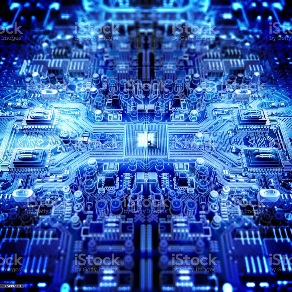 Circuit Board With Processor Stock Photo More Pictures Of Blue Repairing Computer Royalty Free Image