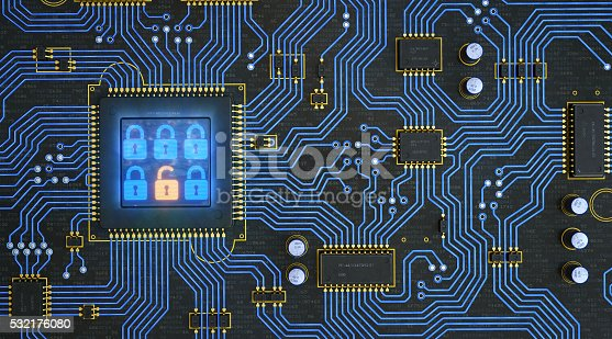 901627692istockphoto Circuit Board With Security Locks 532176080