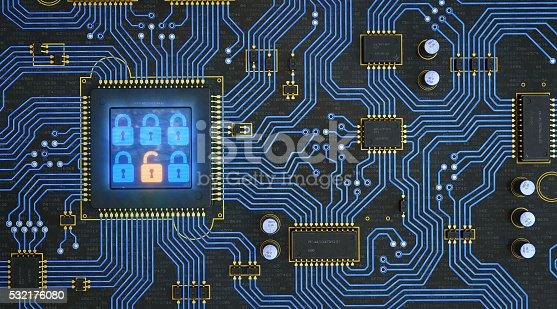istock Circuit Board With Security Locks 532176080