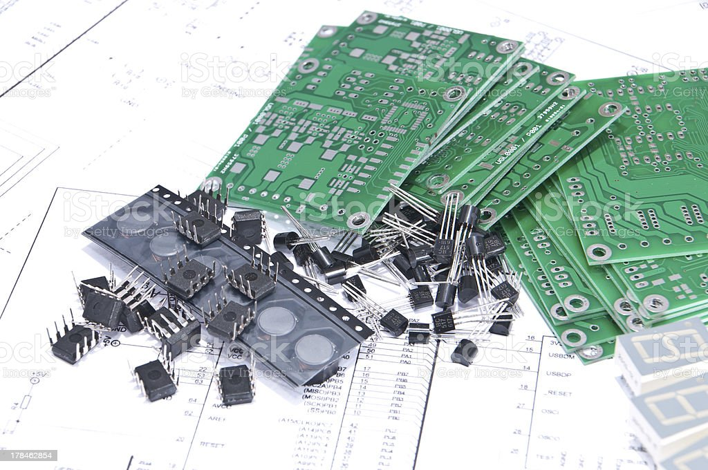 circuit boards and components with schematics in background stock rh istockphoto com