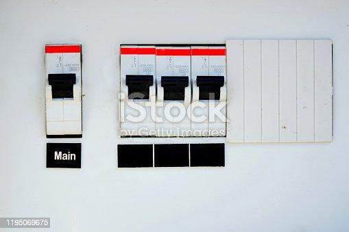 1142476659 istock photo Circuit breakers 1195069675