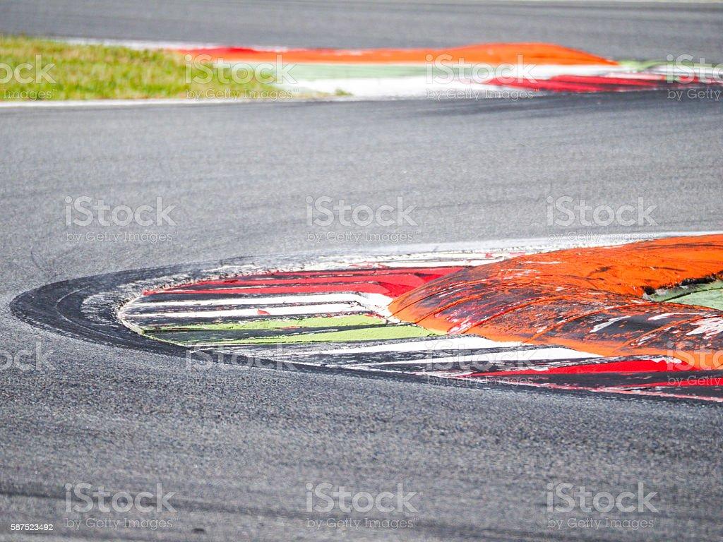 Circuit curb detail, colorful, motorsport concept stock photo