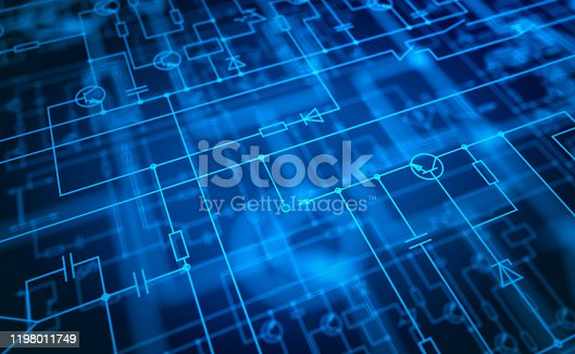3D rendered electronic circuit diagram with various elements in several layers with selective focus.