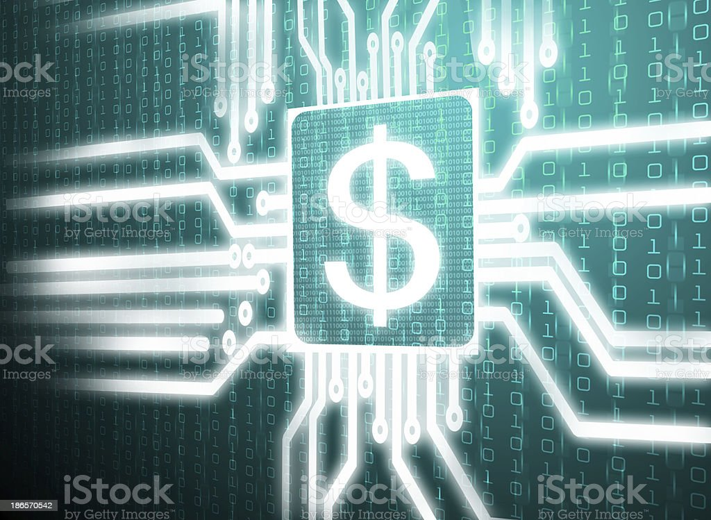 circuit dollar symbol on central processor unit stock photo