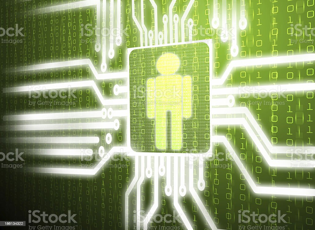 LCD circuit human on green screen stock photo