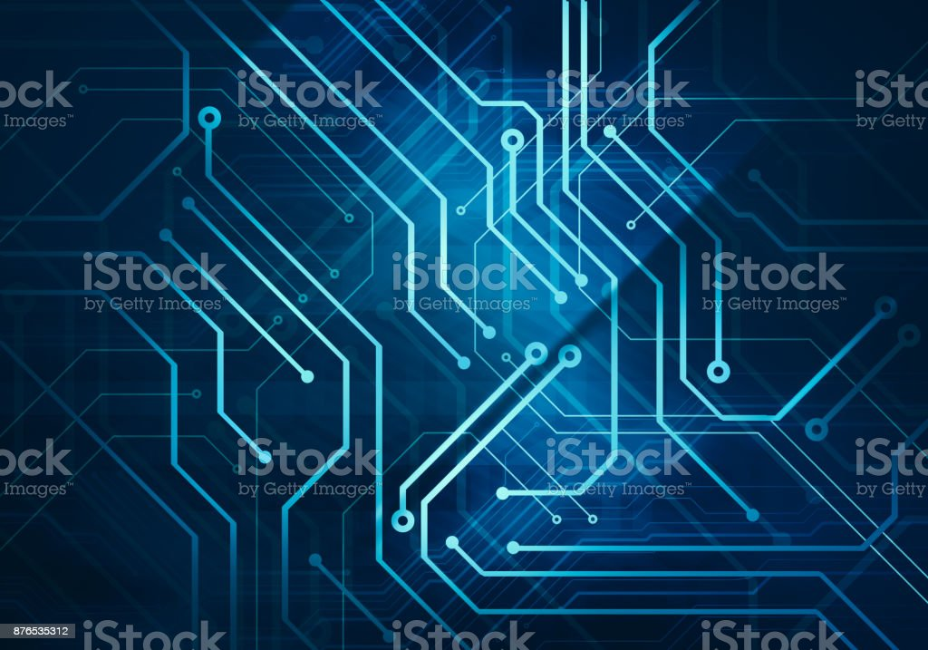 circuit microchip on dark blue background stock photo