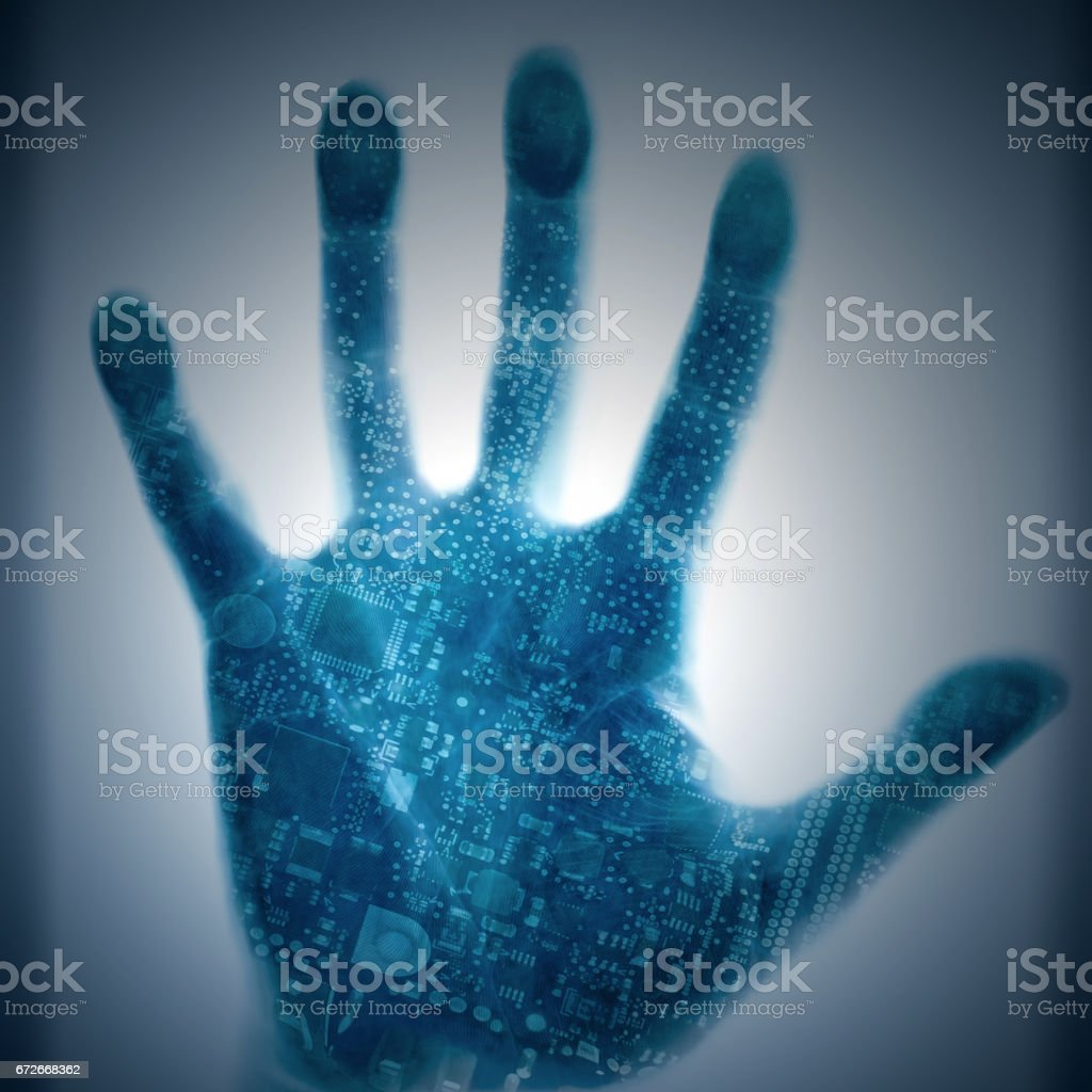 Circuit technology human hands stock photo