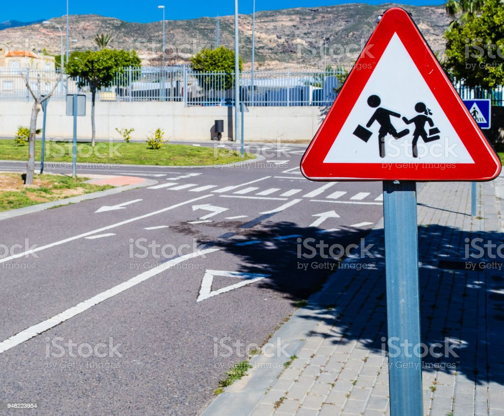 circuit to teach children road education with traffic signs, traffic lights and pedestrian crossings stock photo