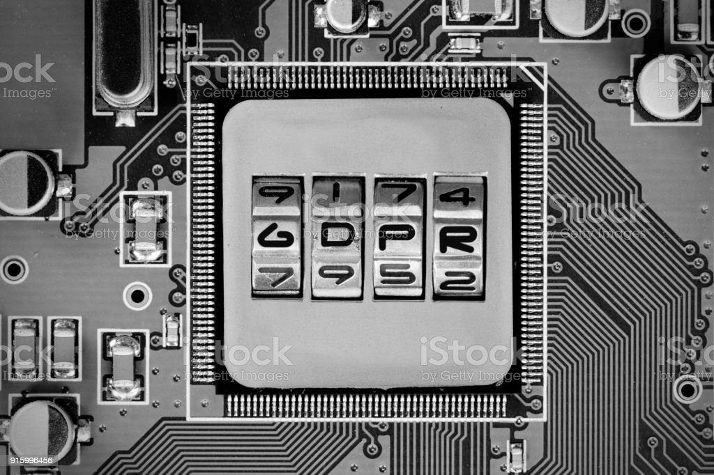 Circuitboard and Chip Concept stock photo