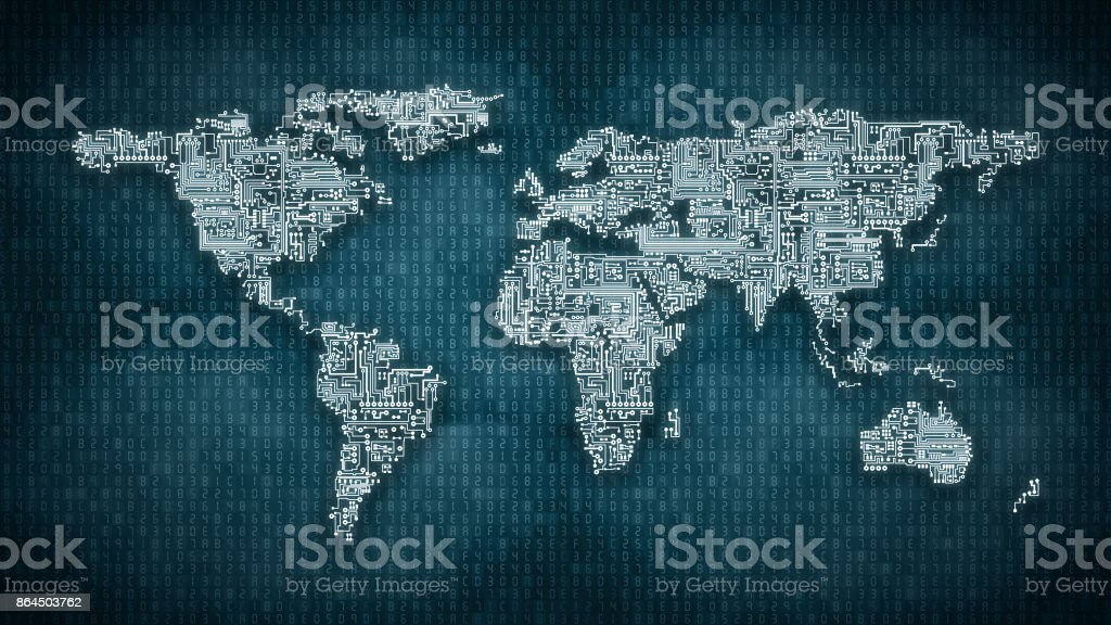 Circuitry World  - computer circuit Earth on hexadecimal computer code background stock photo