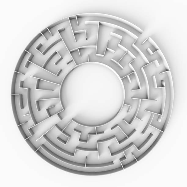 circular 3d maze structure with a free space in the center stock photo
