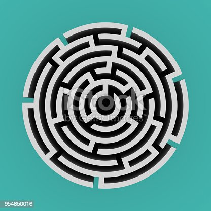 108688372 istock photo Circular 3D Maze Top View - 3D Rendering 954650016