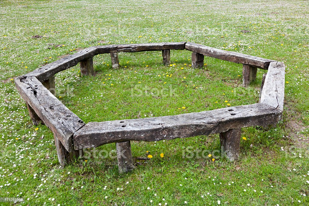 circular bench stock photo