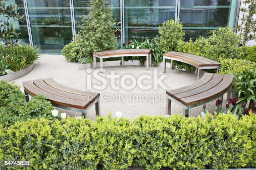 istock Circular benches in courtyard 84743828