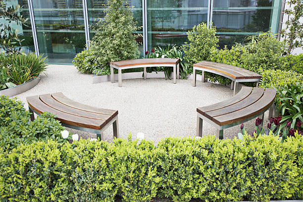 Circular benches in courtyard  courtyard stock pictures, royalty-free photos & images