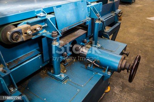 istock Circular blade saw automotive machine tool, close up 1198527292