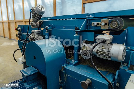 istock Circular blade saw automotive machine tool, close up 1198527327