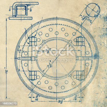 vintage blueprint background . original blueprint of an axle pulley from 1929, made more generic in Photoshop with some labels/measurements removed.