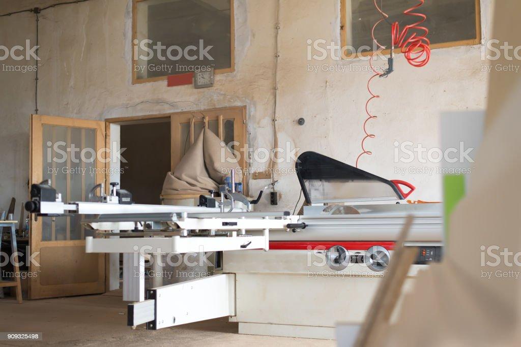 Circular. Carpentry machine. Carpentry workshop. stock photo