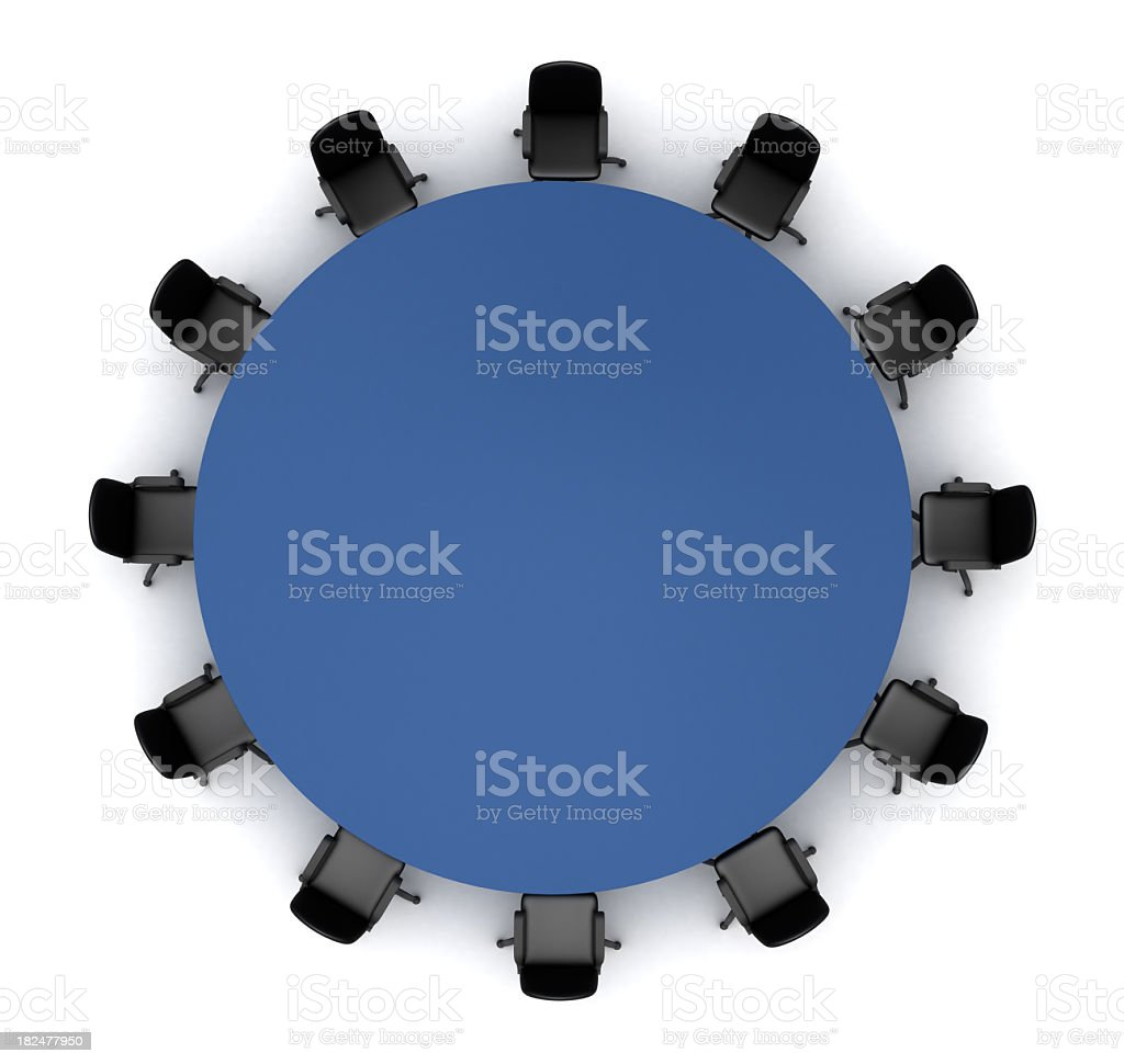 A circular conference table for up to 12 people royalty-free stock photo