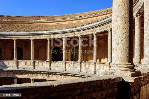 istock Circular courtyard at the Palace of Charles V, Granada. 1289105963