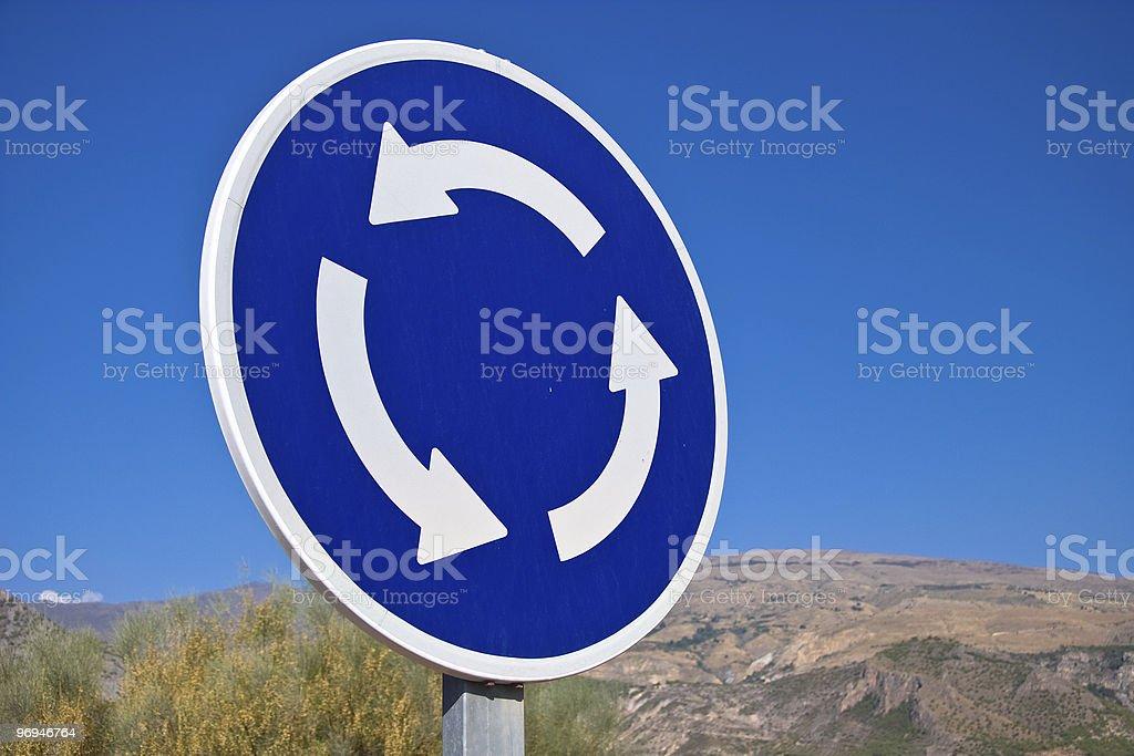Circular crossroad sign royalty-free stock photo