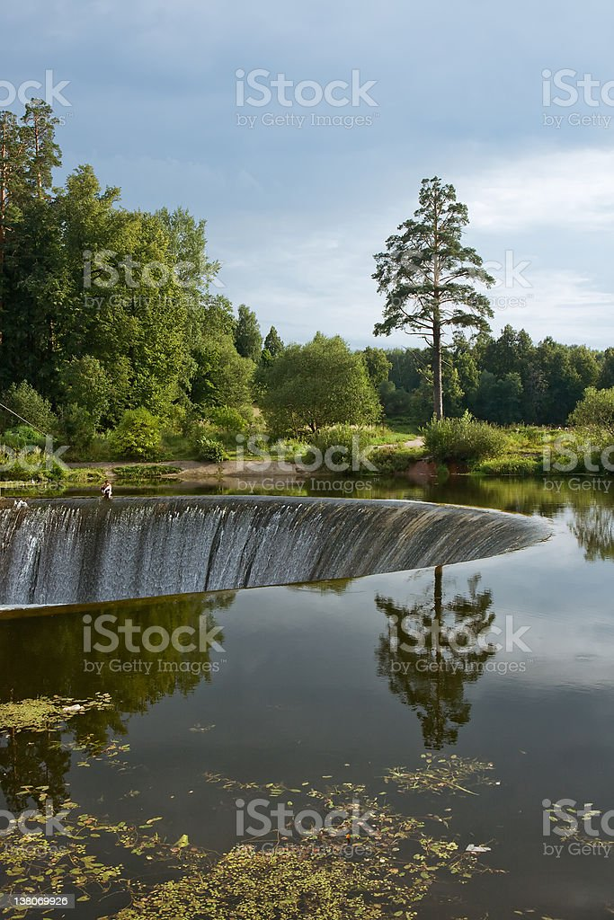 Circular dam with nice background royalty-free stock photo