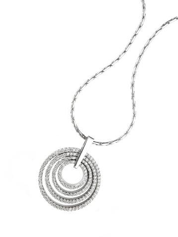 Multi circle diamond pendant on white gold necklace.