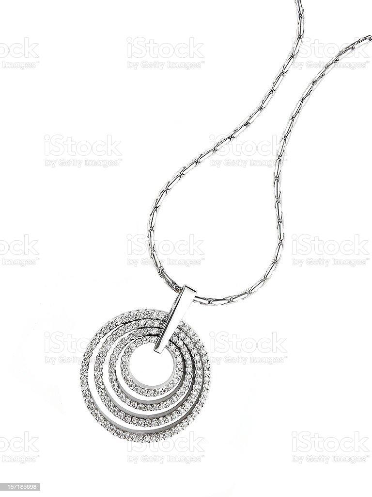 Circular diamond pendant necklace isolated on white stock photo