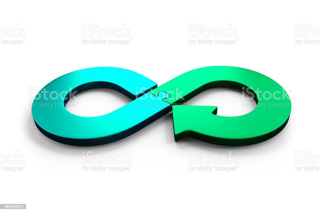 Kreislaufwirtschaft Konzept, 3D Illustration. – Foto