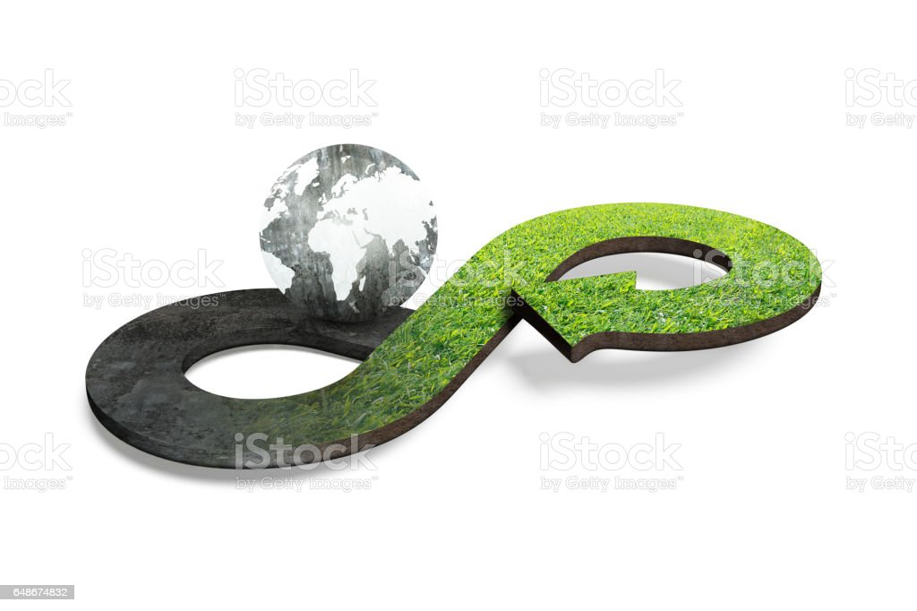 Circular economy concept, 3D rendering stock photo