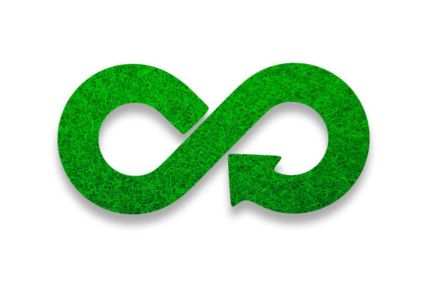 ECO, circular economy, green grass infinity arrow symbol. 3D illustration. stock photo