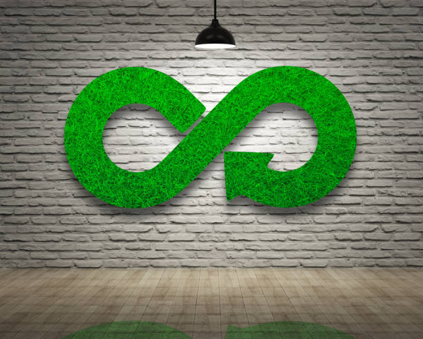 ECO, circular economy, green grass infinity arrow symbol, bricks wall. stock photo